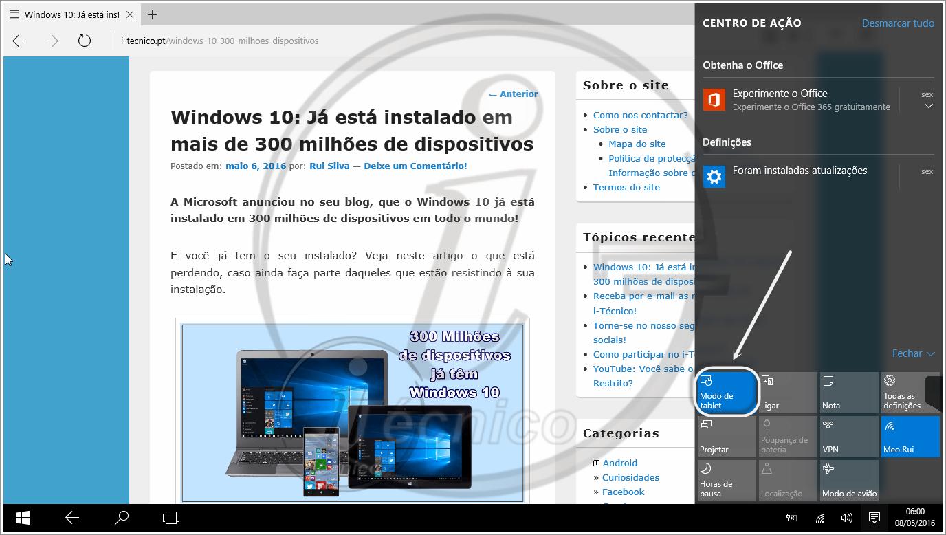 windows 10 saiba o que o modo tablet e veja como activar i t cnico. Black Bedroom Furniture Sets. Home Design Ideas