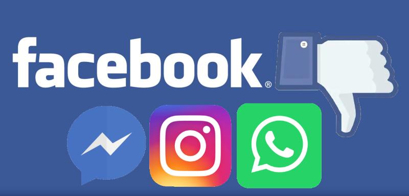Facebook Messenger Instagram WhatsApp em baixo 03072019