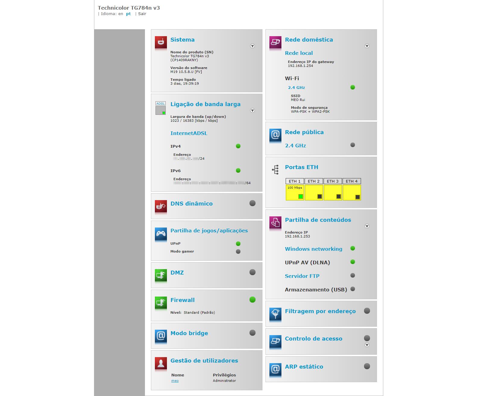 Technicolor TG784n v3 - Página de configuração