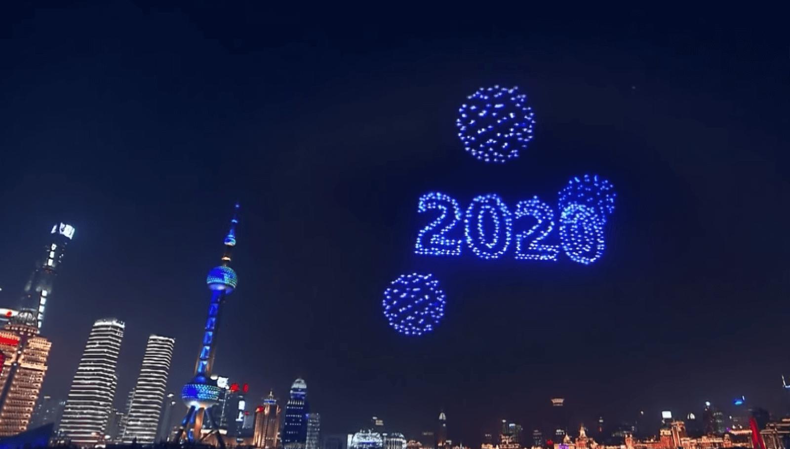 Xangai - uso de drones - passagem de ano 2019-2020