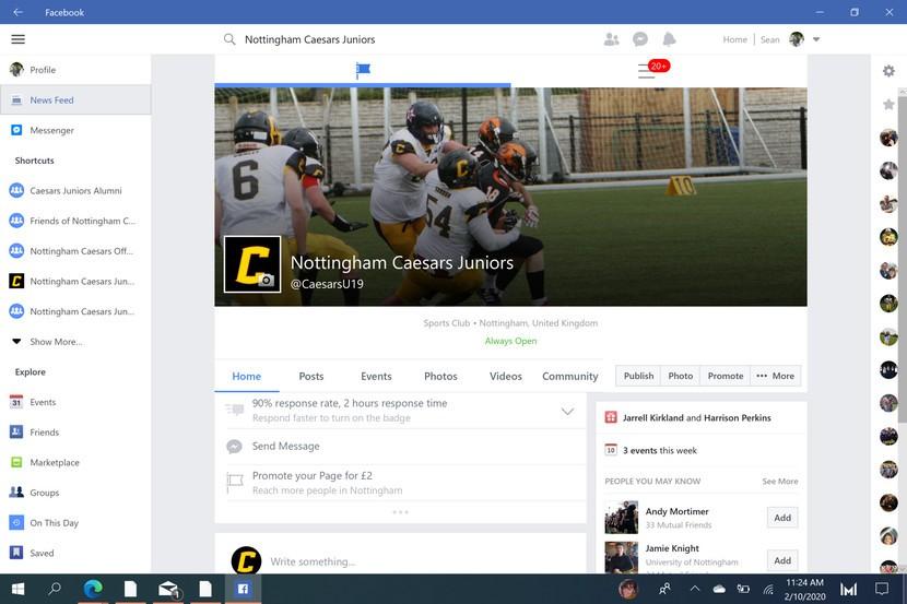 """Aplicação """"Facebook"""" para Windows 10"""